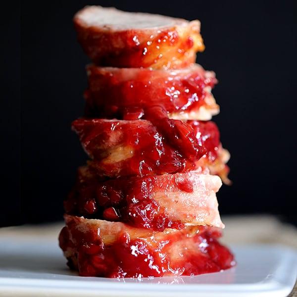 Bacon Wrapped Cherry Merlot Pork Tenderloin