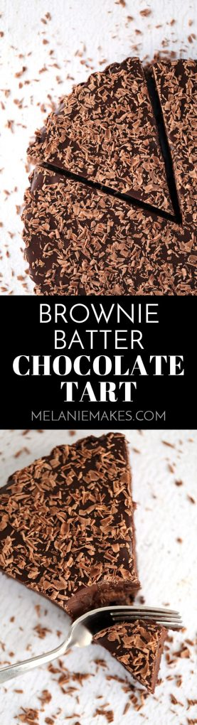 A brownie batter cookie crust is filled with a luscious chocolate ganache and the entire tart is covered in chocolate shavings. Rich and decadent, this Brownie Batter Chocolate Tart is the stuff that dreams are made of!