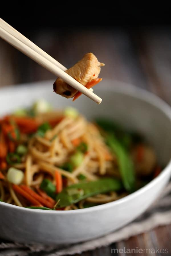 Forget take-out! If you can boil water and have minimal kitchen knife skills, you can have this Chinese Chicken Spaghetti on the table in no time. Whole grain spaghetti is topped with stir-fried carrots, snow peas and green onions and tossed in a soy based sauce, to create a quick and delicious main course.