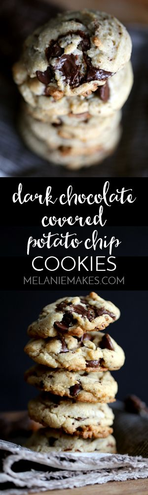 These Dark Chocolate Covered Potato Chip Cookies are the perfect sweet ...