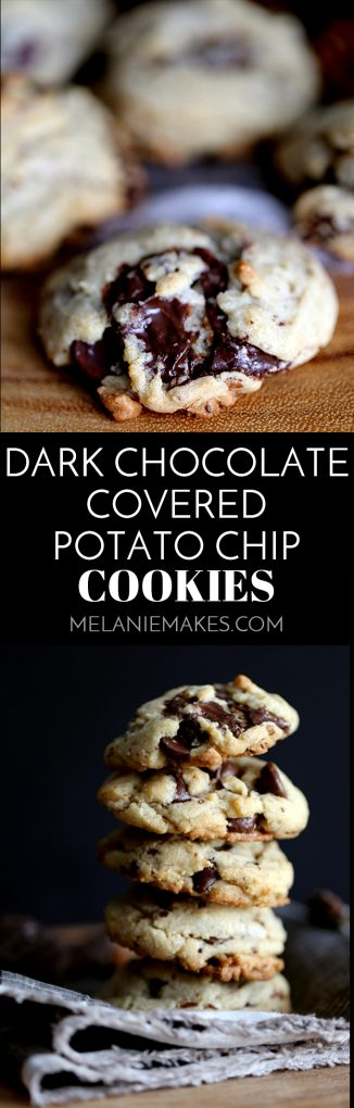 These Dark Chocolate Covered Potato Chip Cookies are the perfect sweet and salty combination. Dark chocolate covered potato chips, dark chocolate chips and pecans bespeckle this delicious cookie base. Warm from the oven, the chocolate puddles in each crevice and at room temperature, the potato chips lend their crunch to this sweet treat. #darkchocolate #chocolate #potatochip #cookies #easydessert