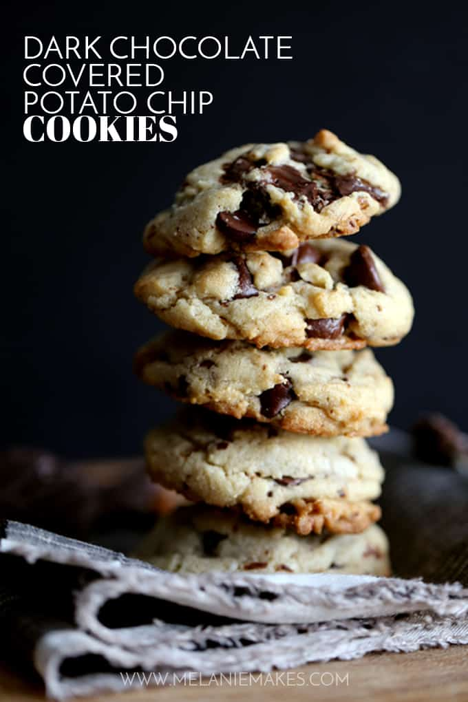 These Dark Chocolate Covered Potato Chip Cookies are the perfect sweet and salty combination.  Dark chocolate covered potato chips, dark chocolate chips and pecans bespeckle this delicious cookie base.  Warm from the oven, the chocolate puddles in each crevice and at room temperature, the potato chips lend their crunch to this sweet treat.