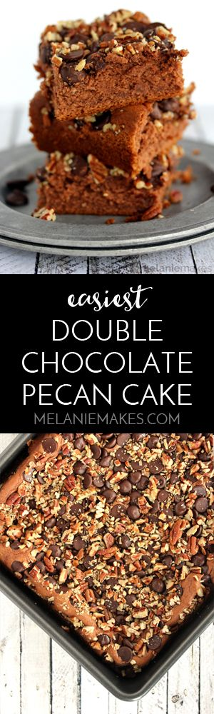 A white cake mix is transformed to become the Easiest Double Chocolate Pecan Cake. With minimal ingredients - including two types of chocolate! - and 30 minutes, you'll have a cake fit for any celebration or just to celebrate that you've conquered another day.