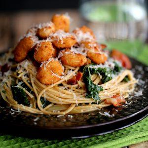 Shrimp, Bacon and Kale Parmesan Pasta | Melanie Makes