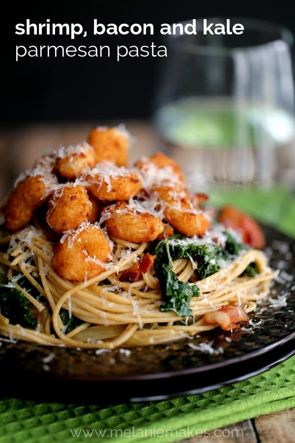 Shrimp, Bacon and Kale Parmesan Pasta | Melanie Makes