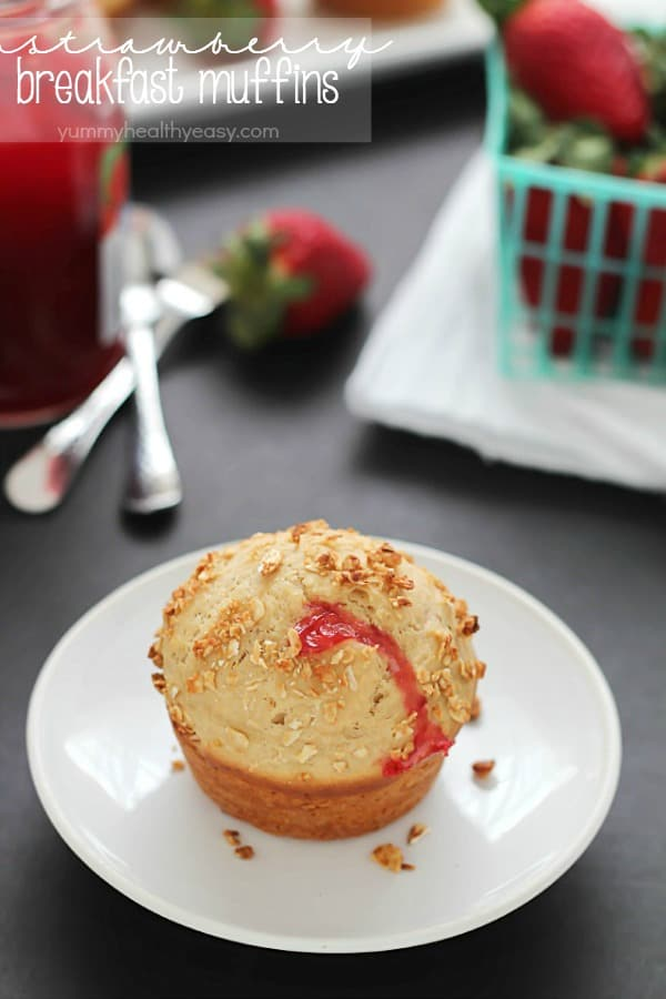 Strawberry Breakfast Muffins | Yummy Healthy Easy for Melanie Makes
