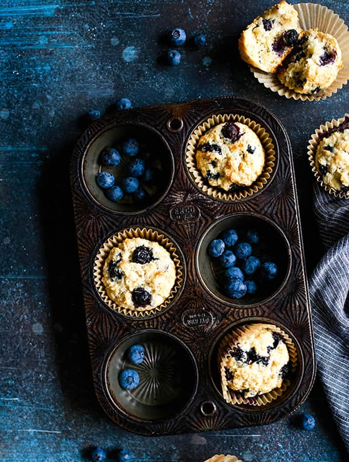 Yogurt Blueberry Oatmeal Muffins