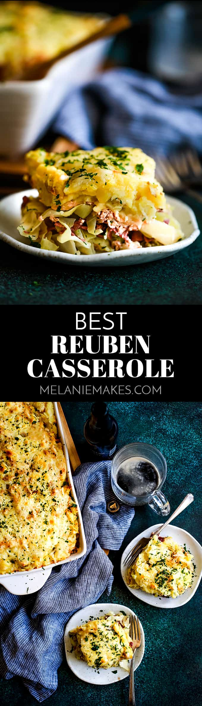 This is without a doubt the Best Reuben Casserole!  Corned beef and cabbage are sandwiched between layers of mashed potatoes speckled with Swiss cheese. #reuben #casserole #comfortfood #stpatricksday #irish #cornedbeef #mashedpotatoes #cabbage