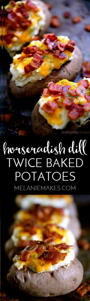 Forget half-shells of potatoes! My Horseradish Dill Twice Baked Stuffed Potatoes are just that - STUFFED! A large baking potato is baked and then the insides are removed and creamed together with butter, yogurt, sharp cheddar cheese, horseradish and dill. And then of course, there's a quarter pound of bacon crumbled on top.