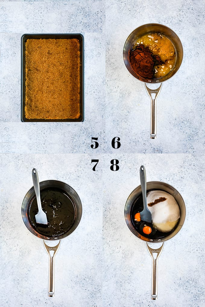 Step by step photos of how to create Peanut Butter Cup Stuffed S'mores Brownies, steps 5-8.