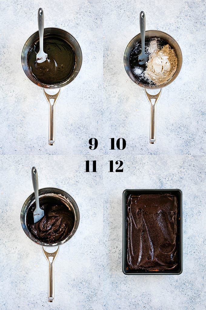 Step by step photos of how to create Peanut Butter Cup Stuffed S'mores Brownies, steps 9-12.