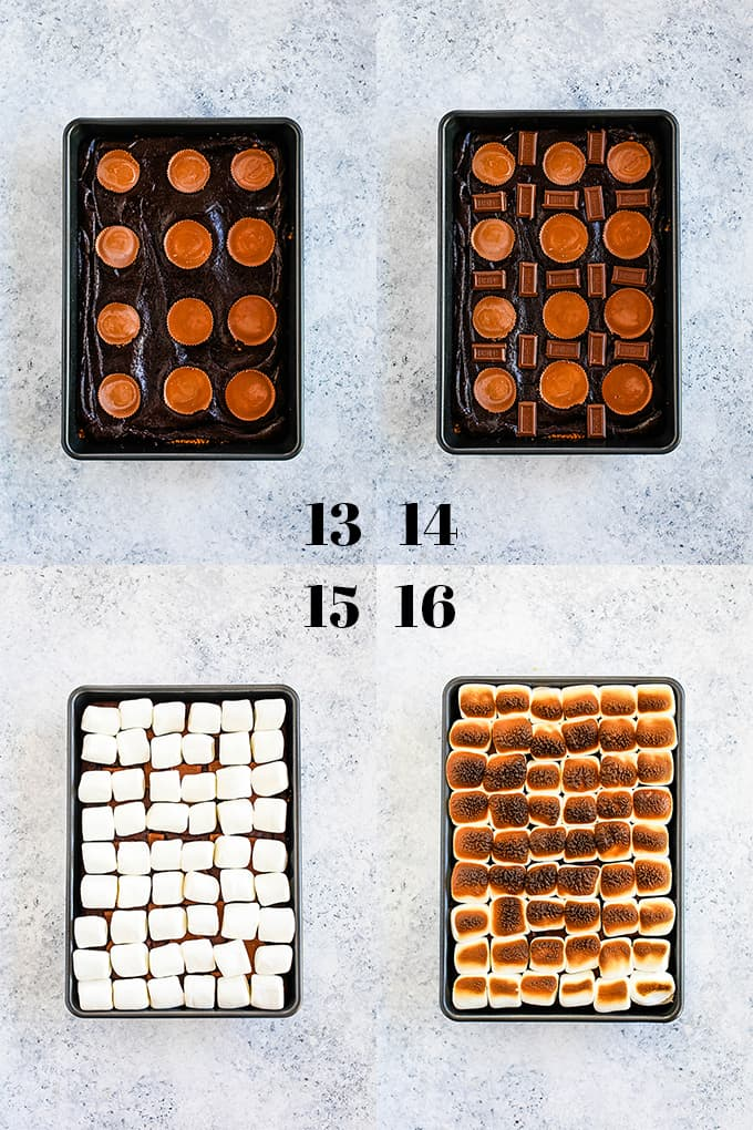 Step by step photos of how to create Peanut Butter Cup Stuffed S'mores Brownies, steps 13-16.