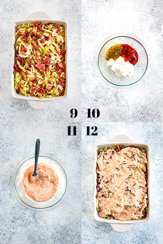 How to make the Best Reuben Casserole, steps 9-12.