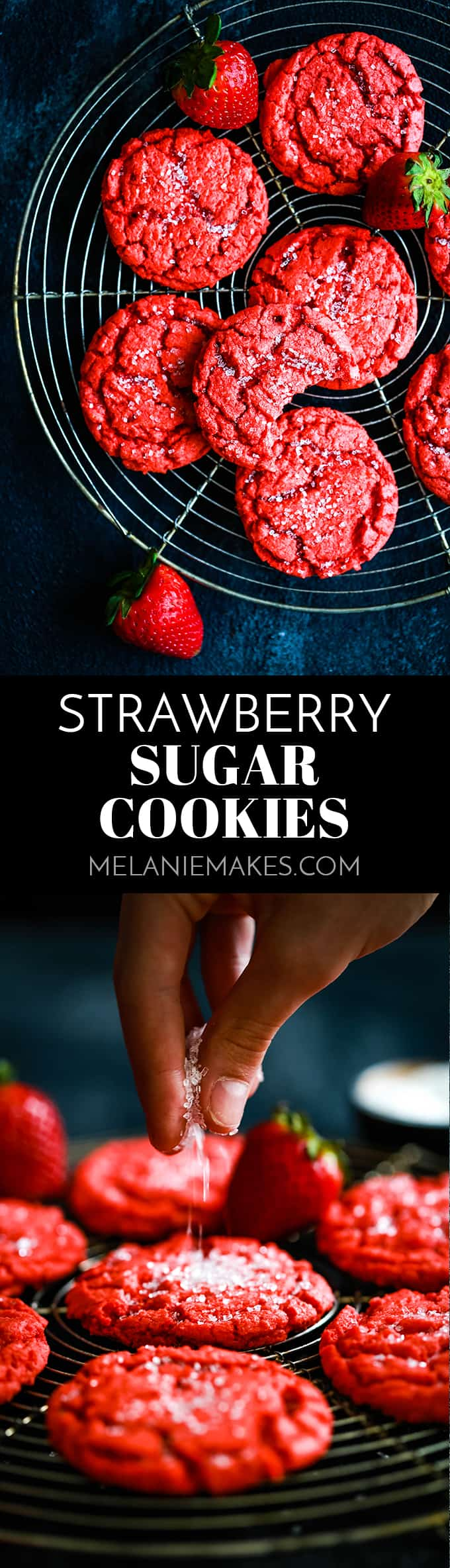 These buttery Strawberry Sugar Cookies have crisp edges, soft centers and – best of all! – a burst of fresh, sweet strawberry flavor. #strawberry #cookies #sugarcookies #red #valentines #valentinesday #babyshowerideas