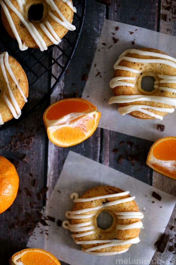 Tangerine Dark Chocolate Chunk Donuts | Melanie Makes