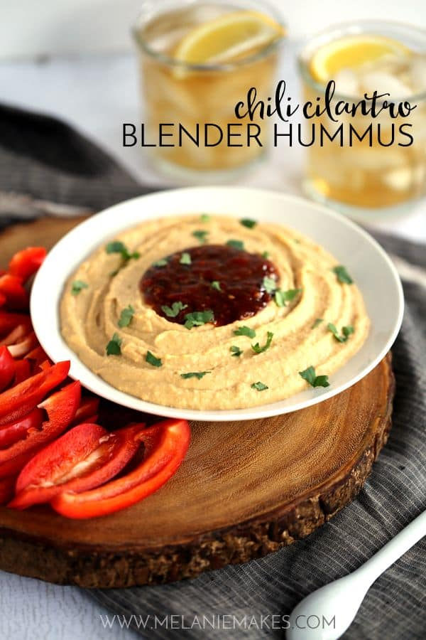 This nine ingredient Chili Cilantro Blender Hummus is a perfect - and easy! - snack or appetizer. Fresh cilantro and lime pair with red bell and crushed red peppers for a one-two sweet and heat combo punch.