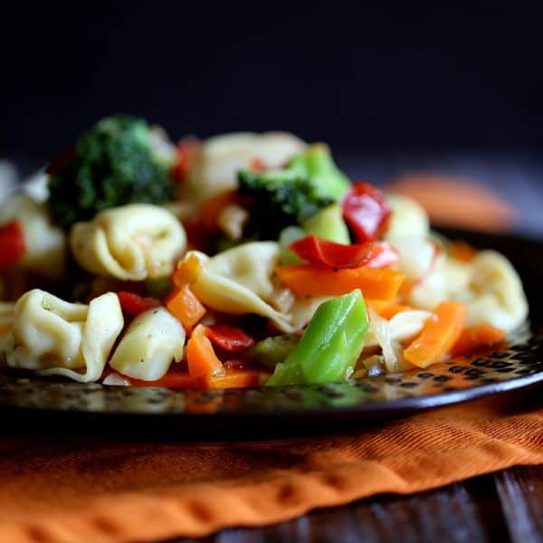 Garlic and Pepper Tortellini Stir Fry | Melanie Makes
