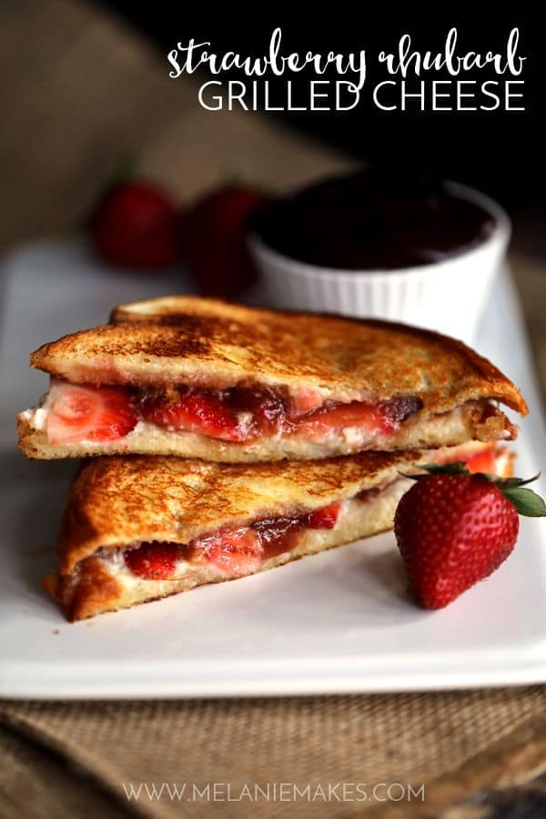 Hawaiian bread, mascarpone cheese, fresh strawberries and rhubarb strawberry preserves combine to create a Strawberry Rhubarb Grilled Cheese that is nothing short of melty perfection.  Each sandwich is served alongside a velvety chocolate ganache which acts as the ultimate dipping sauce for this sweet treat.