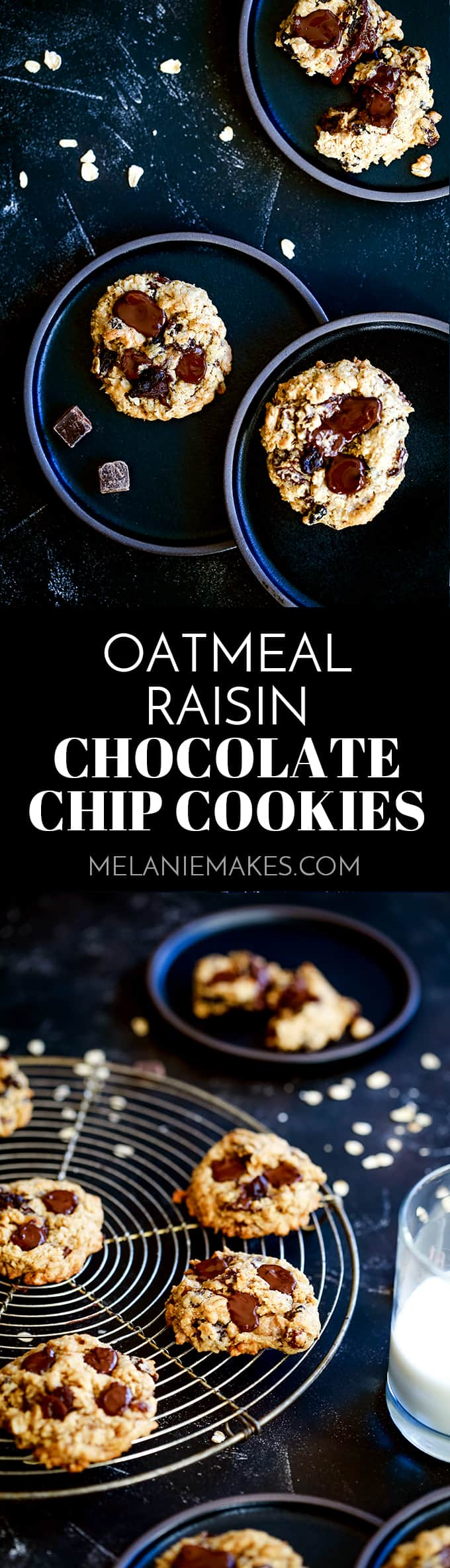 These Oatmeal Raisin Chocolate Chip Cookies won't last long in your cookie jar!  Oats, raisins and dark chocolate chips bedazzle this soft and chewy delight and make them absolutely addicting.