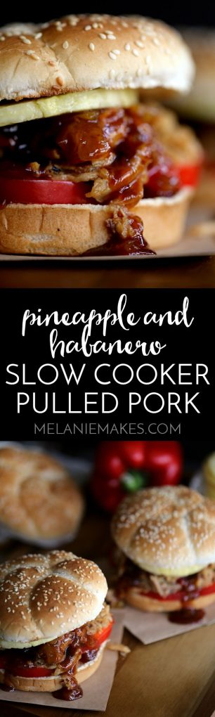 It takes just five minutes and three ingredients to create this sweet and spicy Pineapple and Habanero Slow Cooker Pulled Pork. It's then piled high on a toasted bun and sandwiched between slices of red pepper and fresh pineapple before a pineapple habanero barbecue sauce is spooned over the top to create the messiest, most delicious pork sandwich that has ever met your lips.