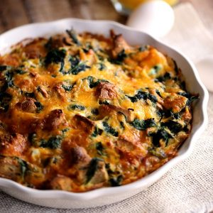 Spinach and Cheese Bagel Strata