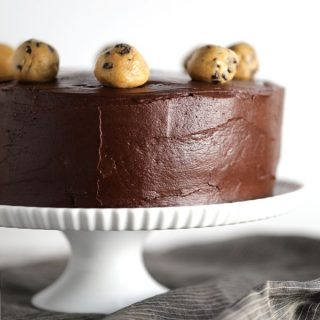 Double Chocolate Peanut Butter Chocolate Chip Cookie Dough Cake | Melanie Makes