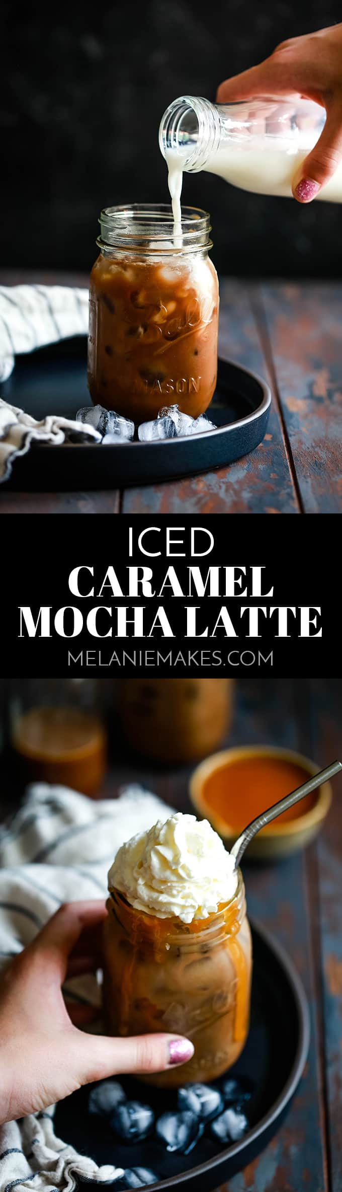 No barista experience required! With just four ingredients, you can create a delicious and less expensive Iced Caramel Mocha Latte at home. #coffee #icedcoffee #caramel #mocha #latte #drinks #easyrecipe