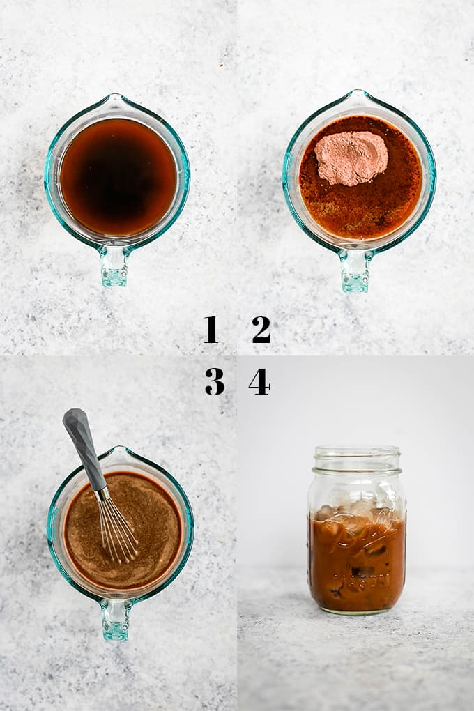 How to prepare an Iced Caramel Mocha Latte, steps 1-4.