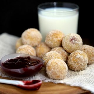 Raspberry Filled Caramel Donut Holes | Melanie Makes