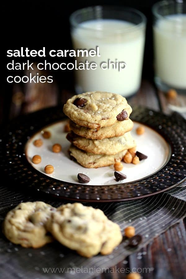 Salted Caramel Dark Chocolate Chip Cookies | Melanie Makes