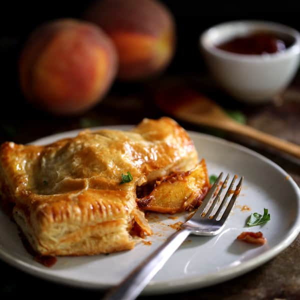 Barbecue Bacon Peach Chicken Turnovers