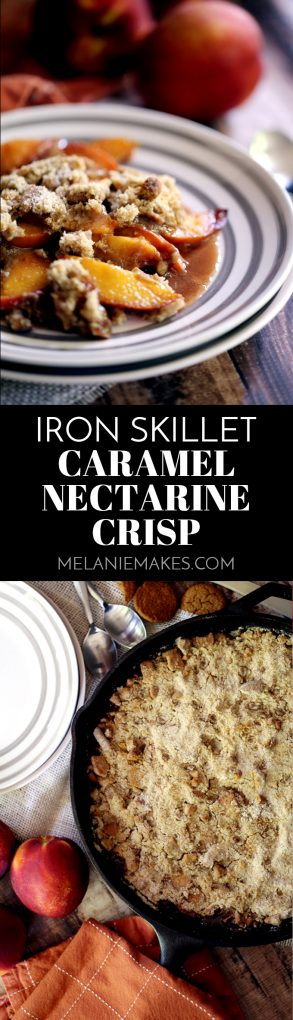 This Iron Skillet Caramel Nectarine Crisp is anything but ordinary, but so incredibly easy! Slices of fresh nectarines are tossed with allspice and caramel before being topped with a gingersnap cookie crumble. Topped with a scoop of ice cream, it's dessert perfection. #caramel #nectarines #peaches #skillet #easydessert #fruitcrisp #dessert #caramel