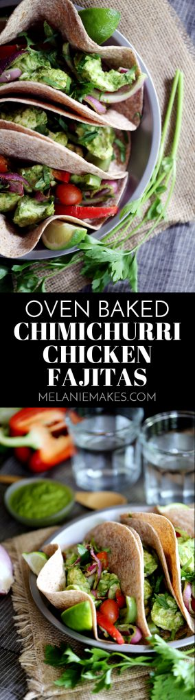 These Oven Baked Chimichurri Chicken Fajitas are bursting with bright fresh flavors thanks to a vibrant green chimichurri sauce.  Succulent strips of chicken breast marinate in the sauce before being oven baked and nestled into tortillas with bell peppers, red onions and grape tomatoes.  Fajitas have never been easier or more delicious!