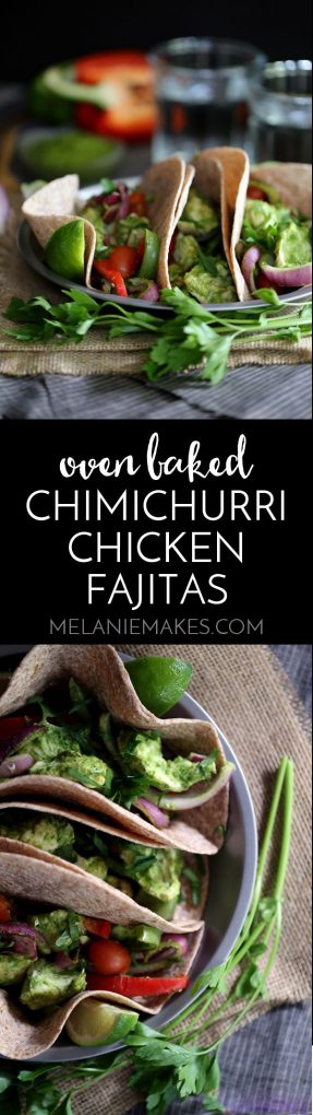 These Oven Baked Chimichurri Chicken Fajitas are bursting with bright fresh flavors thanks to a vibrant green chimichurri sauce. Succulent strips of chicken breast marinate in the sauce before being oven baked and folded in between tortillas with bell pepper, red onions and grape tomatoes. Fajitas have never been easier!