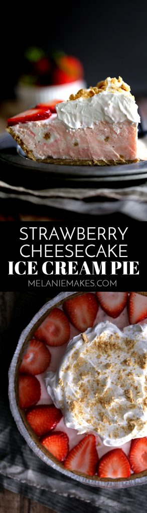 This Strawberry Cheesecake Ice Cream Pie takes just 10 minutes and five ingredients to prepare! Strawberry cheesecake ice cream is swirled together with cheesecake pudding and whipped topping before being poured into a graham cracker pie shell. It's then frozen before being garnished with slices of juicy strawberries, a pillowy cloud of additional whipped topping and a dusting of graham cracker crumbs. #strawberry #cheesecake #icecream #pie #easydessert