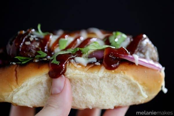 Barbecue Pizza Bratwursts | Melanie Makes