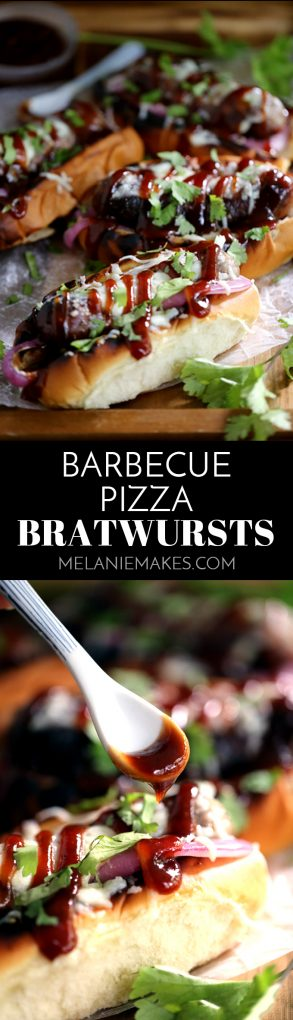 These Barbecue Pizza Bratwursts take all the flavors of your favorite pizza and reinvents them as toppings for your brat. A toasted bun is layered with grilled red onions and bratwurst before being drizzled with barbecue sauce, covered in melted mozzarella cheese and sprinkled with cilantro.