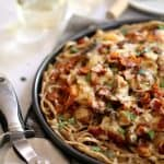 Chicken Bacon Swiss Spaghetti Pizza | Melanie Makes