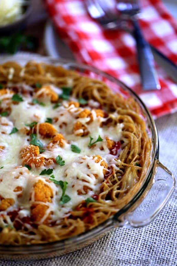 Chicken Parmesan Spaghetti Pie | Melanie Makes