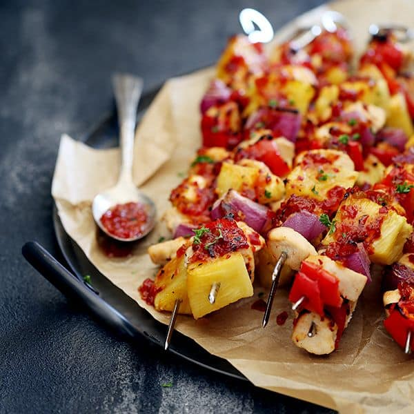 Pineapple Pepper Chicken Kebobs | Melanie Makes