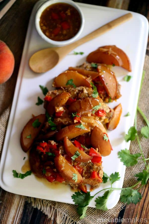 Slow Cooker Peach and Pepper Pork Chops | Melanie Makes