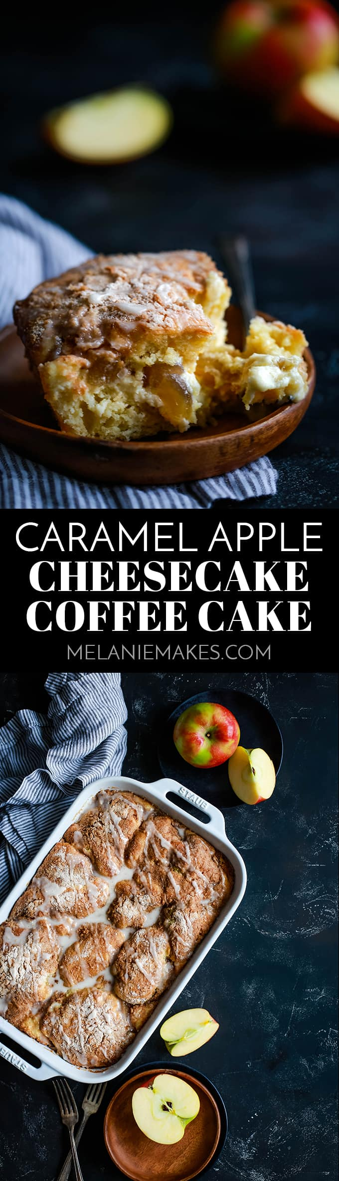 This Caramel Apple Cheesecake Coffee Cake is the epitome of fall baked good perfection!  Which will be your favorite part?  The thick swirl of caramel cheesecake, the cinnamon sugar topping or the apple cider glaze? #caramel #caramelapples #cheesecake #coffeecake #breakfast #brunch #apple #applerecipes