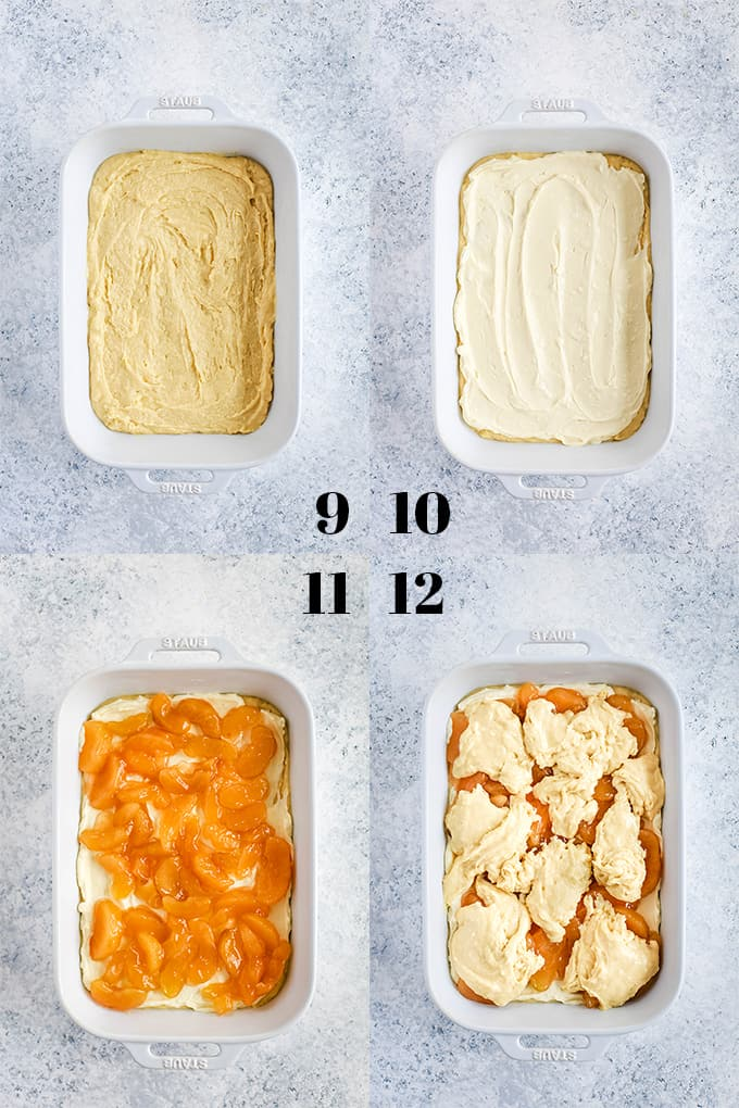 Step by step photos of how to create Caramel Apple Cheesecake Coffee Cake on a white speckled background.