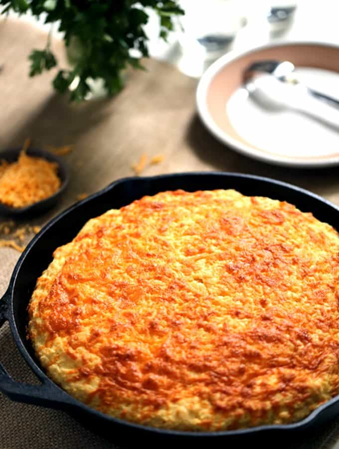 Cheddar and Cream Cheese Skillet Cornbread | Melanie Makes