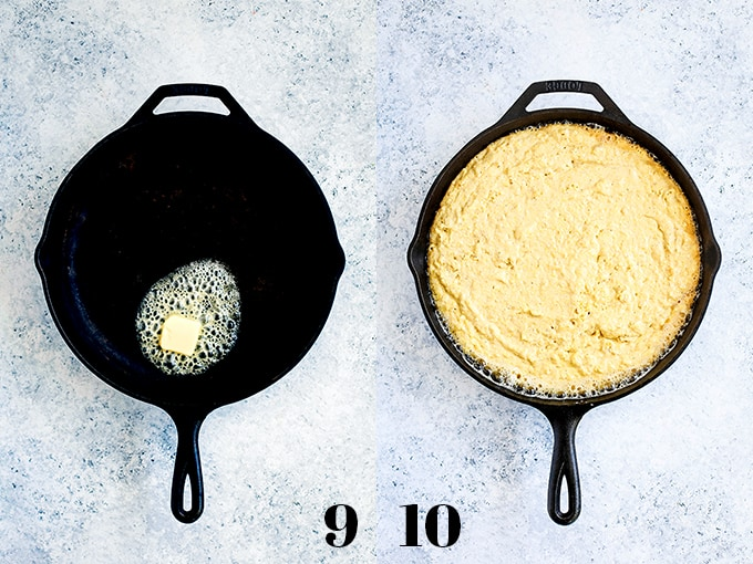 How to make Cheddar and Cream Cheese Skillet Cornbread, steps 9-10.