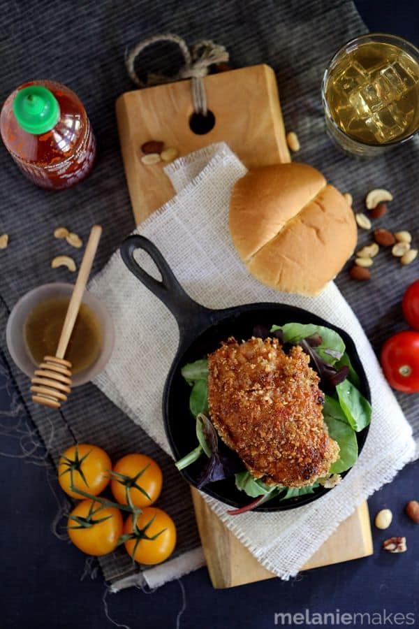 Honey Sriracha Nut Oven Fried Chicken   Melanie Makes