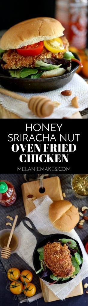 This seven ingredient Honey Sriracha Nut Oven Fried Chicken says so long to spattering oil and instead gets it's crispy crunch from an oven. Marinated in buttermilk and coated in panko bread crumbs and mixed nutsbefore beingbathed in a delicious honey Sriracha sauce, thischicken is the definition of sweet heat. #honey #sriracha #nut #friedchicken #oven #baked #dinner