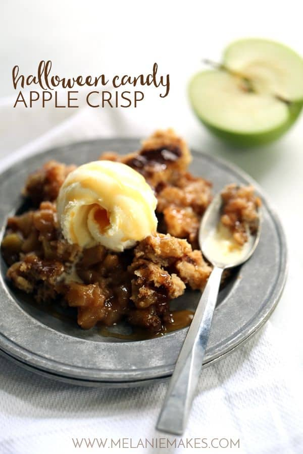Everything tastes better when chocolate is involved and this Halloween Candy Apple Crisp is no exception! Your favorite Halloween candy is stirred into diced apples and then covered with two times the amount of crisp topping to create a truly delicious autumn dessert.