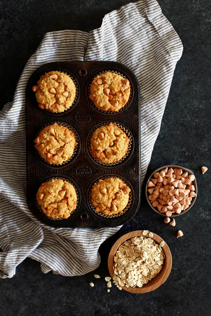 These four ingredient Pumpkin Butterscotch Oatmeal Muffins are perfect when paired with your morning cup of coffee or a great after school treat.  Pumpkin puree, milk and butterscotch chips are stirred into a homemade oatmeal muffin mix to create the quickest and easiest muffins around.
