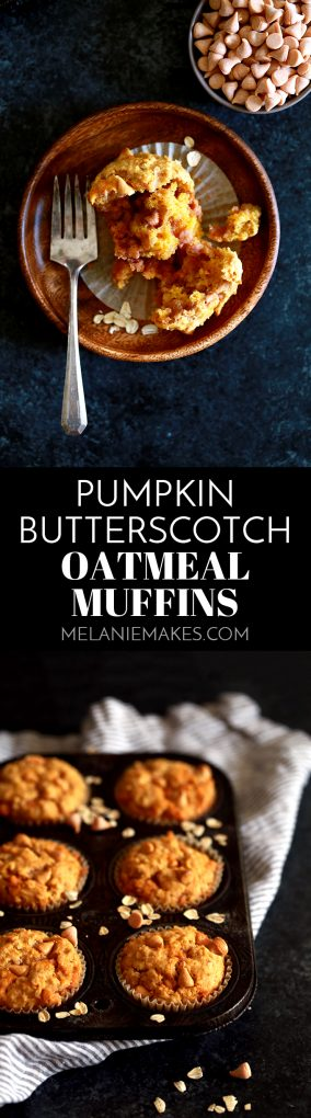 These four ingredient Pumpkin Butterscotch Oatmeal Muffins are perfect when paired with your morning cup of coffee or a great after school treat. #pumpkin #pumpkinrecipes #butterscotch #oatmeal #muffins #breakfast #breakfastrecipes #brunch